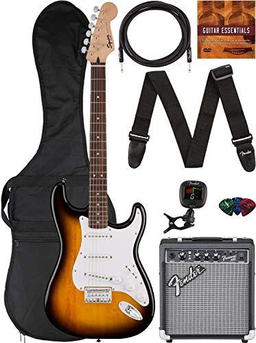 Fender Squier Bullet Stratocaster HT - Sunburst Bundle with Frontman 10G Amplifier, Gig Bag, Instrument Cable, Tuner, Strap, Picks, and Austin Bazaar Instructional DVD