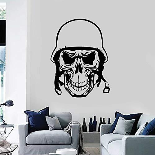 zqyjhkou Soldat Schädel Knochen Kopf Helm rior Wandaufkleber Für Wohnzimmer Vinyl Wandtattoo Decor Küche Nodic Dekoration 57x75cm