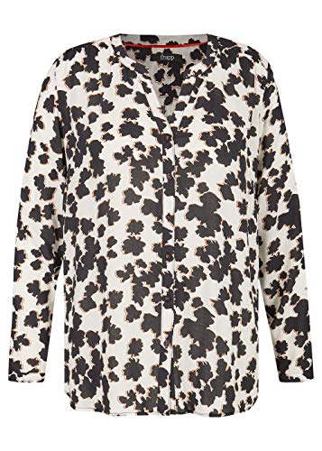 Frapp Damen Allover-Print Viskose-Bluse Black & White