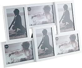 Balvi Marco Isernia Color Blanco Capacidad: 6 Fotos Tamaño de Fotos: 10x15cm para sobremesa o para Colgar Plástico 28,5x44,5 cm