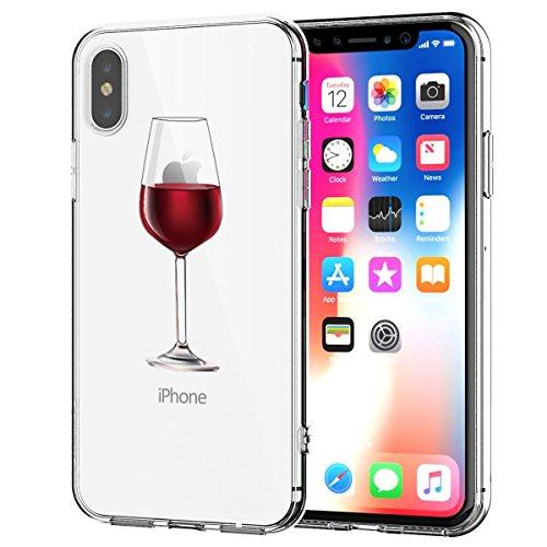 Compatibile con iPhone X XS 5.8  Cover Silicone, Case Trasparente Alsoar Ultra Slim Custodia in Silicone Antiurto No-Slip Anti-Graffio Simpatico Disegno Divertente Morbido (Bicchiere di Vino)