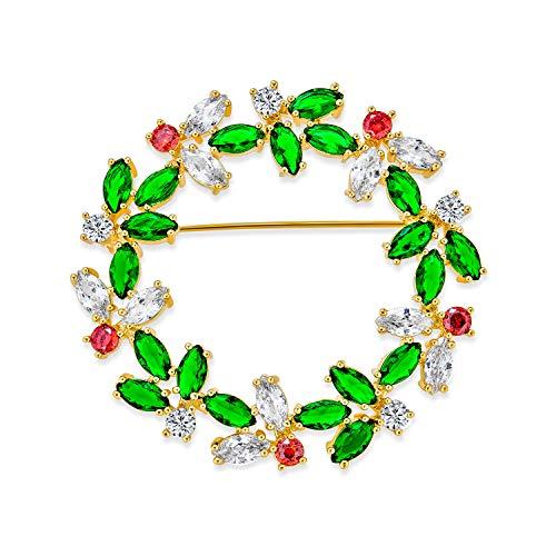 Bling Jewelry Marquise Cubic Zirconia CZ Verde Rojo Moda Ronda Navideña Wreath Broche para Mujer De Latón Chapado En Oro De 14K