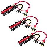 サイバーワールド ライザーカード 【最新Ver.009S】 USB3.0 PCI-E Express 1x-16x 拡張ライザーカードアダプター マイニング ビットコイン グラフィックボード アダプター 【3個セット】