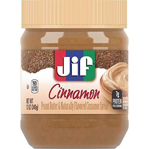 Jif Cinnamon Flavored Peanut Butter Spread, 12 Ounces (Pack of 8), 7g (7% DV) of Protein per Serving, Smooth, Creamy Texture, No Stir Natural Peanut Butter