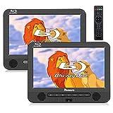 Naviskauto Lettore DVD portatile blu-ray per auto poggiatesta, doppio schermo da 10.1 pollici, lunga durata, supporto uscita HDMI/USB/SD/MMC/cavo AUX, 18 mesi di garanzia