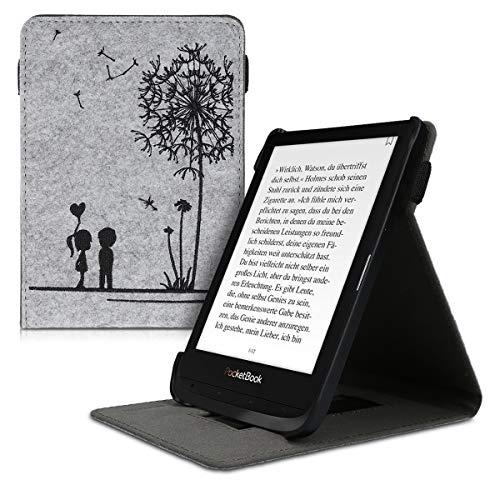 kwmobile Funda Compatible con Pocketbook Touch Lux 4/Basic Lux 2/Touch HD 3 - Carcasa para e-Book de Cuero sinttico - nios y Diente len Negro/Gris Claro