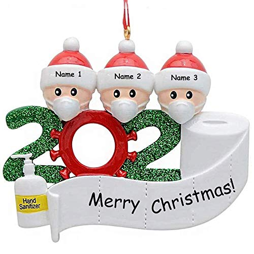 Personalized 2021 Christmas Ornament 2-5 Family Members, DIY Survived Family Customized Christmas Decorative Kit Xmas Tree Hanging Ornaments, Creative Gift for Family (Family of 3)