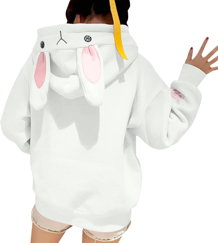 JPLZi Cute Women Hoodie, Teens Girls Cosplay Bunny Ears Long Sleeve Loose Hooded Sweatshirt Pullover Tops Blouse Top
