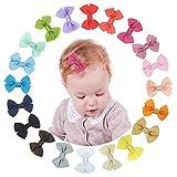 XCOZU lazos para el cabello 20 colores lazos para el pelo horquillas con pinzas de cocodrilo accesorios para el pelo para bebés y niñas pequeñas (2.4 pulgadas)