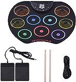Batería Electrónica 9 Almohadillas Colorful Roll Up Drum Set Silicone Electronic Drum Kit con Palillos y Pedal de SOSTENER LQHZWYC