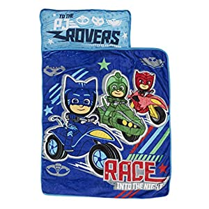 PJ Masks Race Into The Night Nap Mat – Includes Pillow and Fleece Blanket – Great for Boys and Girls Napping at Daycare, Preschool, Or Kindergarten – Fits Sleeping Toddlers and Young Children