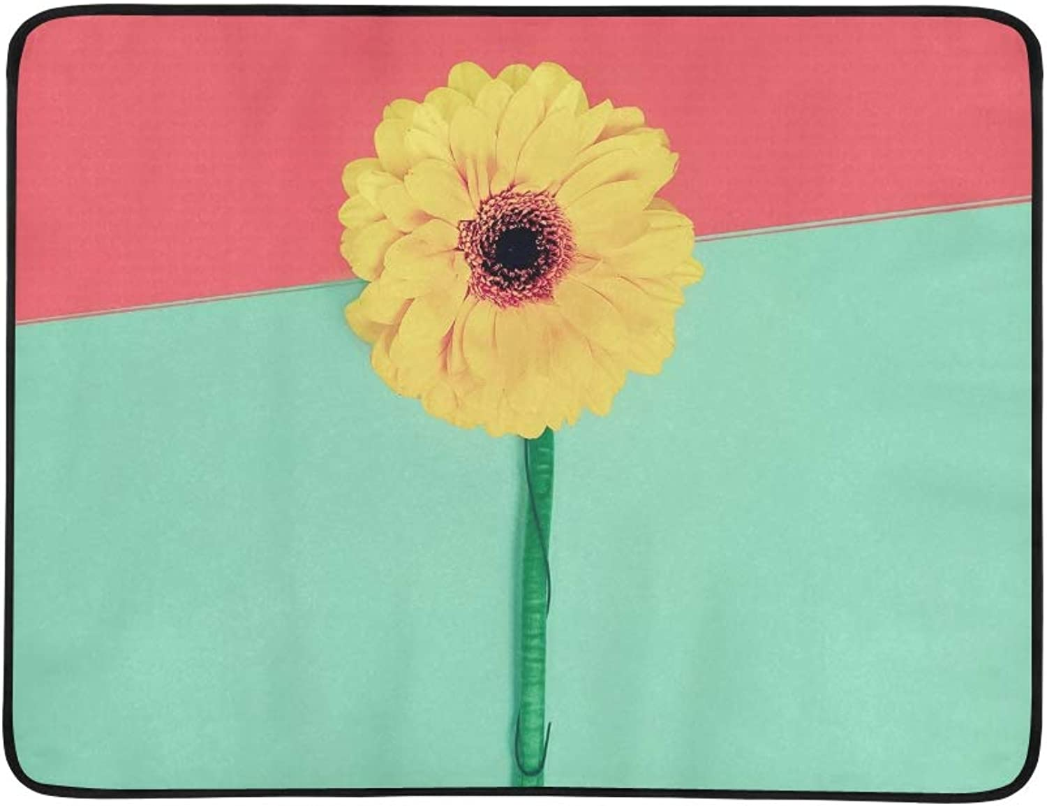 Bright Gerber Flower On Paper Portable and Foldable Blanket Mat 60x78 Inch Handy Mat for Camping Picnic Beach Indoor Outdoor Travel