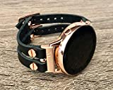 Black Vegan Leather Bracelet For Samsung Galaxy Watch Active 40mm Adjustable Size Double Strap Band Rose Gold Jewelry Smartwatch Women Wristband