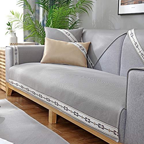 Homeen Funda de sofá cheslong,Cubierta de Cama de sofá Fresco de 2/3/4 plazas,Cubierta de resbalón de sofá de Verano,Protector de sofá Universal Moderno-Gris_45 * 45 cm Almohada