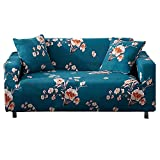 HOTNIU Stretch Sofa Cover Printed Couch Covers for 2 Cushion Couch Slipcovers for Sofas Loveseat Armchair Elastic Universal Furniture Protector with One Free Pillowcase (2 Seat, Blue Flower)