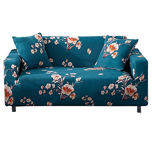 HOTNIU Stretch Sofa Cover Printed Couch Covers Armchair Slipcovers for 1 Cushion Couches Sofas Elastic Universal Furniture Protector with 1 Free Pillowcase (Small, Blue Flower)