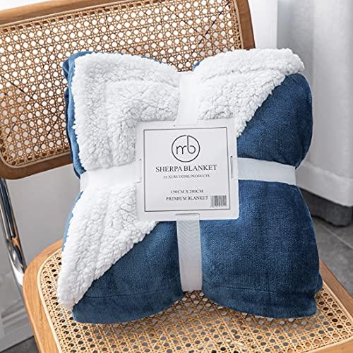Mixibaby Hochwertige Wohndecken Kuscheldecken, extra Dicke warm Sofadecke/Couchdecke, Größe:150 cm x 200 cm, Farbe:Dunkelblau