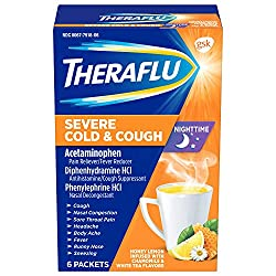 Theraflu Nighttime Severe Cold and Cough Hot Liquid Powder Honey Lemon Infused with Chamomile and Wh
