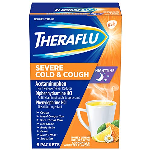 Theraflu Nighttime Severe Cold and Cough Hot Liquid Powder Honey Lemon Infused with Chamomile and...