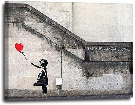 Banksy Heart Balloon Canvas Wall Art 16x20 Pop Art Graffiti Artwork for Modern Urban Mural Fans product image