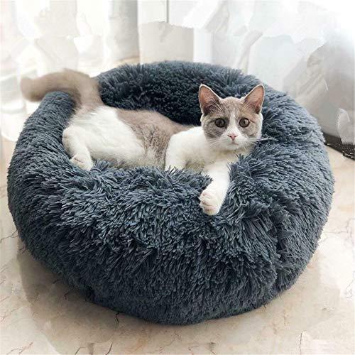 Blivener Plüsch Haustierbett für Katzen und Hunde Kuschelig Weich Runden Katze Schlafen Bett für Haustiere in Doughnut-Form Dunkelgrau 50 cm