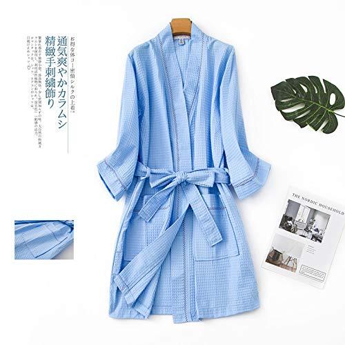 qiangdedianzishang Albornoces Albornoces de algodón Fino Albornoces de Kimono japonés para Mujeres Albornoces de SPA para Mujeres Pecho 80-100cm C Talla única