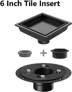Ushower Square Shower Drain 6 Inch, Tile-insert Matte Black Stainless Steel Square Drain with Drain flange kit