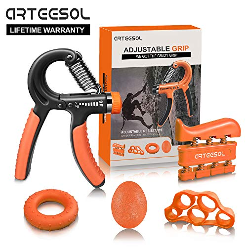 Handtrainer Fingertrainer Set, Arteesol Hand Trainingsgerät (5-50kg) 5 in 1 Unterarmtrainer Einstellbar Hand Grip für Klettern Fitness Therapie Krafttranieren Handrehabilitation [4 Color], Orange