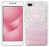 Sunrive Für Asus ZenFone 4 Max ZC520KL 5,2 Zoll Hülle Silikon, Transparent Handyhülle Schutzhülle Etui Hülle Backcover(TPU Blume rosa)+Gratis Universal Eingabestift