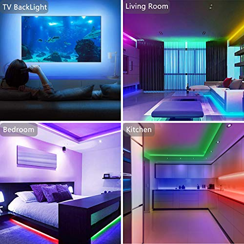 50ft Led Strip Lights, Tenmiro Smart Led Lights Strip Music Sync Color Changing Lights App Control and 23keys Remote, Led Lights for Bedroom Party Home Decoration 4