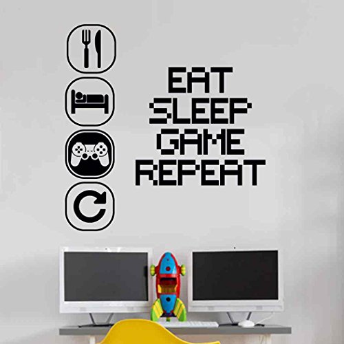 Eat Sleep Play Kinderzimmer Wandaufkleber Mural Vinyl Decal Kindergarten Kinder Gamer Kunst Teenager Video Spiel Wandbild