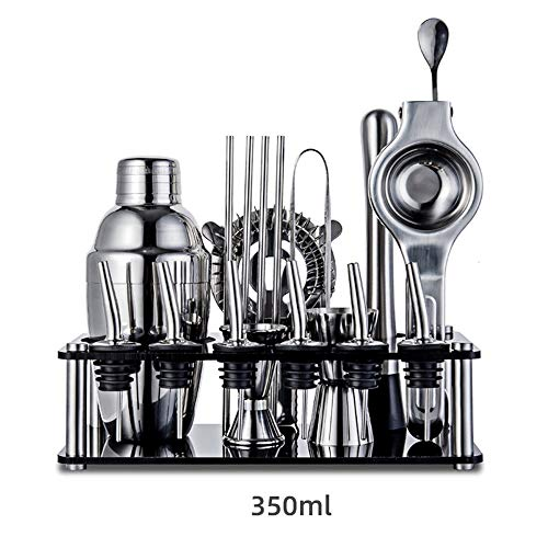 Cocktail Shaker Bar Tools Set (19 Piece) Brushed Stainless Steel Bartender Kit, With All Bar Accessories, Cocktail Strainer for Home Bar Party (Color : 350ml)