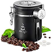 Star Coffee Canister Stainless Steel Airtight Food Storage Container with Date Tracker CO2 Valve eBook and Scoop - Coffee Jar for Beans, Grounds, Tea, Sugar, Flour, Cereal, 16OZ, Black
