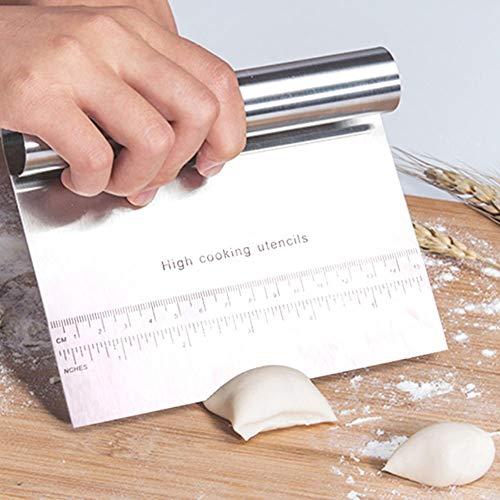 HelloCreate cortador de raspador de masa, con escala de impresión de acero cortador de raspador de masa de acero inoxidable para el hogar pastel de pizza decoración de pan herramienta de repostería
