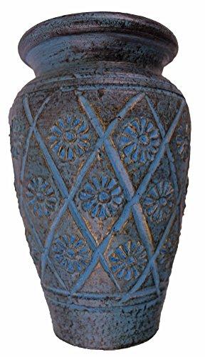 Rotfuchs® Tonvase Blumenvase aus Ton 20 cm hoch Handarbeit Dekoration (20 cm, Türkisblau)