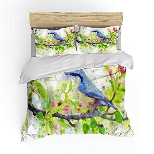 HNHDDZ Kids Boys Girls Double Bedding Set 3 Pieces Watercolor Painted Animal Parrot Bird Duvet Cover 200x200 With 2 Pillowcase 50x75, Microfiber Duvet Cover Set With Zipper