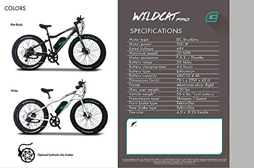 51TD41LJWUL Emojo Wildcat Pro 500W Aluminum Mountain Electric Bike