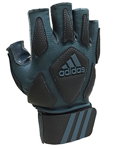 adidas Scorch Destroy 2 Lineman Gloves Half Finger, Grey/Black, Medium