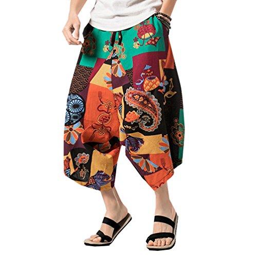 YuanDian Herren Damen Unisex Große Größe Bohemien Retro Drucken Niedriger Schritt Harem Caprihose Baggy Cotton Leinen Dünn Elastische Taille Sarouel Aladdin Pluder Goa Hippie Hose Blume 2# M