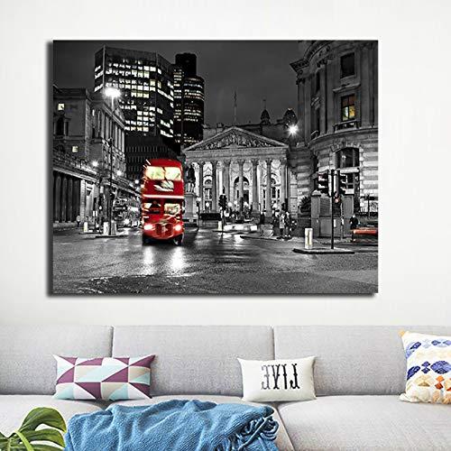 zgwxp77 Cartel de autobús Callejero en Blanco y Negro e Impresiones Imagen de Pintura de Lienzo de Paisaje de la Ciudad Moderna de la noche40x60cm sin Marco