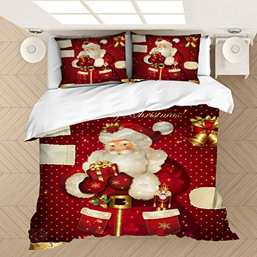 RTSE 3D Print, Santa, Elk, Snowman, Ultra-Fine Polyester Fibre, Cot Cover, Main Decoration (G,220X260)