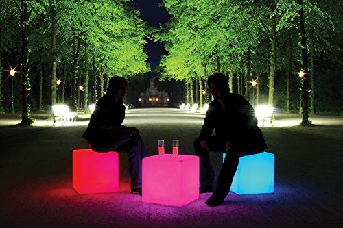 Cube LED Accu Outdoor, Pouf cube 45 cm de haut, 44 x 44 cm longueur largeur