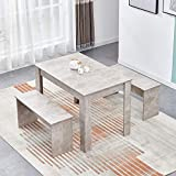 BELIFEGLORY Dining Table and 2 Benches, Space Saving 3 Pieces Wooden Furniture Set for Home, Kitchen, Office, Small Apartment (Light Grey)