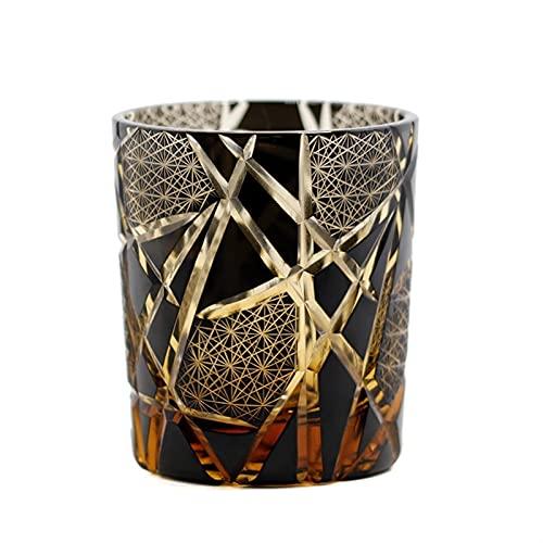 WLCO Beber Vidrio Personalizado clásico Antiguo Cristal de Moda Taza de Whisky para Scotch-Bourbon con diseño de Corte de Mano Copa de cóctel de múltiples usos en Caja 709 (Color : Black)