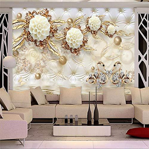 Benutzerdefinierte Fototapete 3D Fresko Tapetenaufkleber 3D Luxus Gold Weiße Blume Weiche Tasche Globus Schmuck Tv Hintergrund,250 * 175Cm