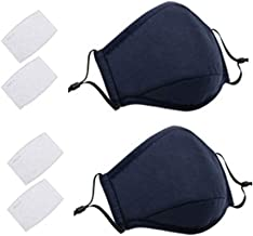 2 Pack Face Covers with 4 Air Filter Cotton Liner Washable Reusable Face Protector with Adjustable Straps-Navy