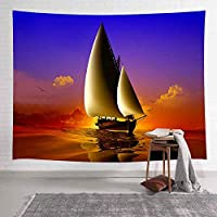 多機能壁掛けヨットのタペストリー夏の海の夕日の壁リビングルームの寝室の寮の家の毛布の装飾のためのタペストリーをぶら下げ