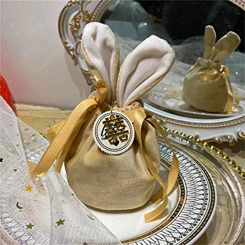 BAHER Osterhasen-Tragetasche, süßer Samt, Osterhasen-Beutel, 21,6 x 25,4 cm, mit Kordelzug, für Ostereiersuche, Hochzeit, Geburtstagsparty (Champagner)
