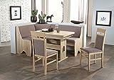 Beauty.Scouts Eckbankgruppe Rimini Sonoma Eiche Dekor Grau Braun Set 4 teilig Truheneckbank ausziehbarer Tisch Stühle Buche massiv Küche Esszimmer