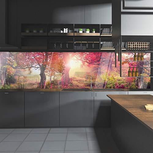 wandmotiv24 Küchenrückwand Wald Bäume Natur Sonne Rot 240 x 60cm (B x H) - Acrylglas 4mm Nischenrückwand, Spritzschutz, Fliesenspiegel-Ersatz, Deko Küche M1113